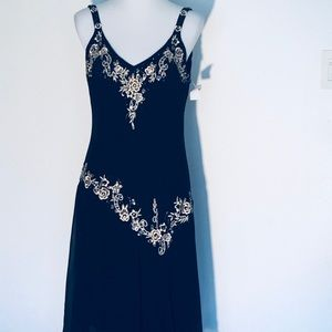 black sheer dress hand sewn appliqués rhinestones